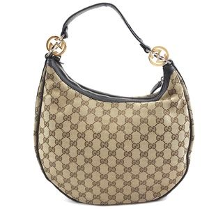 Gg Guccissima Logo Brown Canvas Hobo Bag